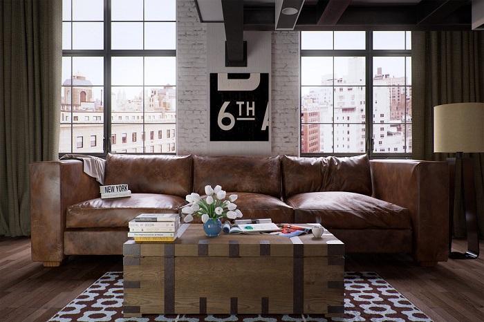 Кожаный диван - базовый элемент гостиной в стиле лофт. / Фото: Ideas.homechart.ru