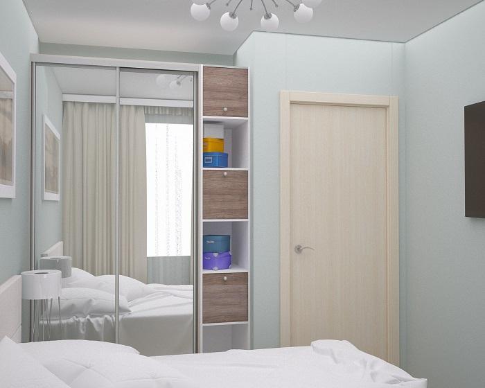 Шкаф с зеркальными дверцами визуально расширит пространство. / Фото: Interierdoma.zzz.com.ua