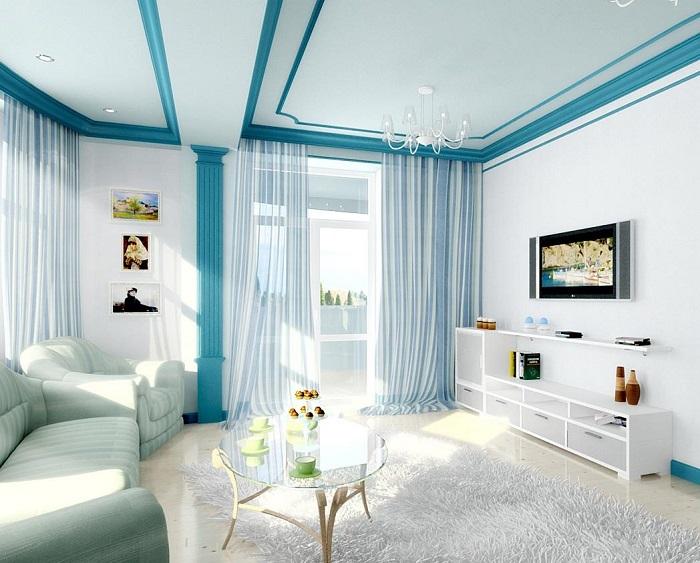 Интерьер в серо-голубых тонах. / Фото: Kitchenremont.ru