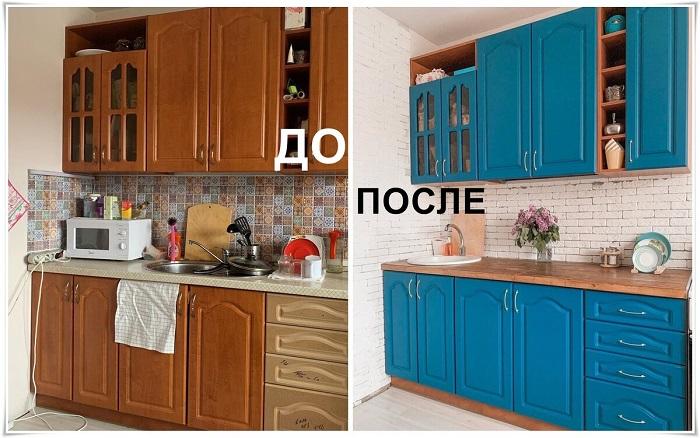Кухонный гарнитур до и после изменений. / Фото: Krsk.au.ru