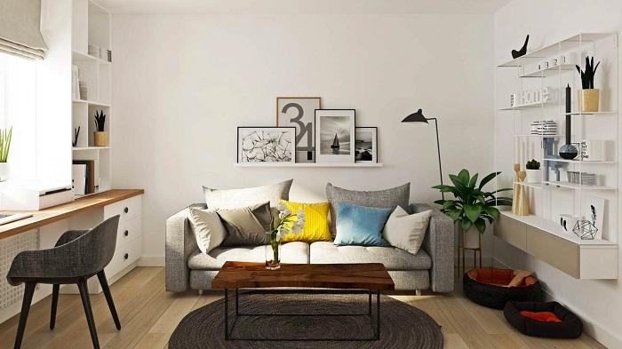 На стену можно повесить красивые картины. / Фото: Kvartblog.ru