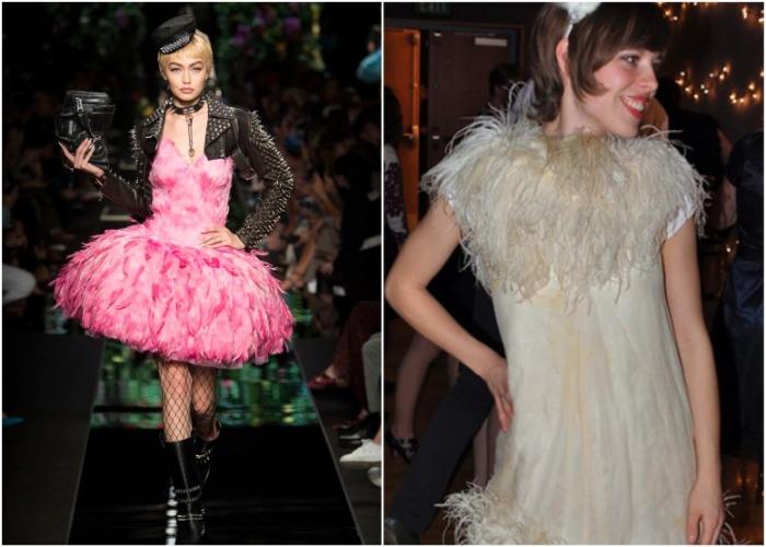 Платье с перьями подойдет для костюмированной вечеринки