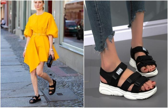 Массивные сандалии делают ногу огромной