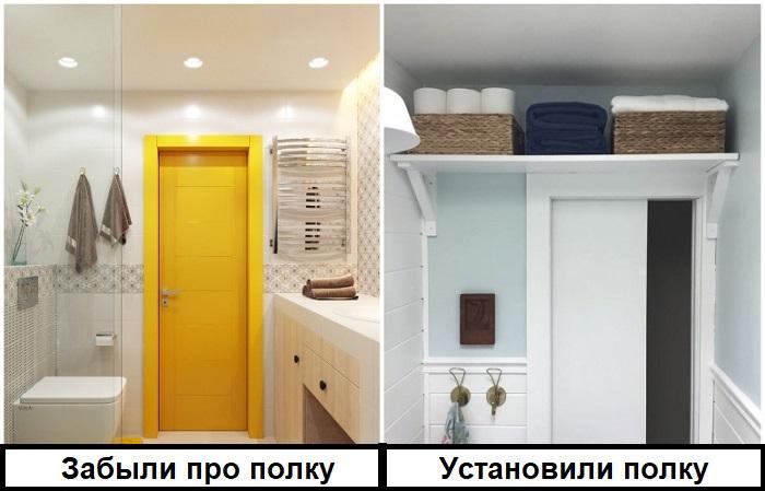 Над дверью в ванной стоит повесить полку