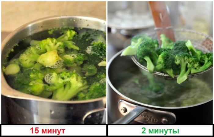 Брокколи нельзя варить дольше двух минут