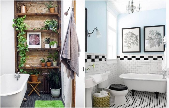 В ваннах за рубежом можно увидеть картины и растения