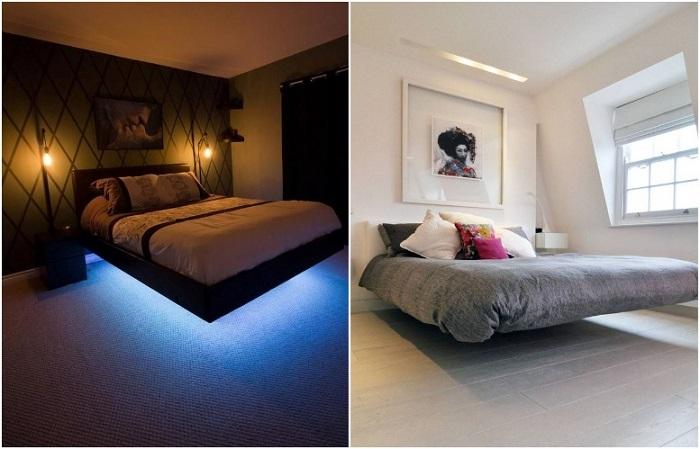 Ночью на подвесных кроватях эффектно смотрится подсветка