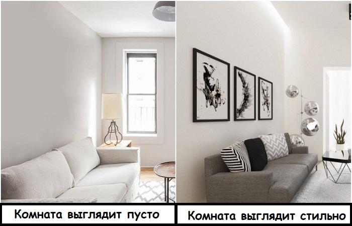 Над диваном можно повесить несколько постеров