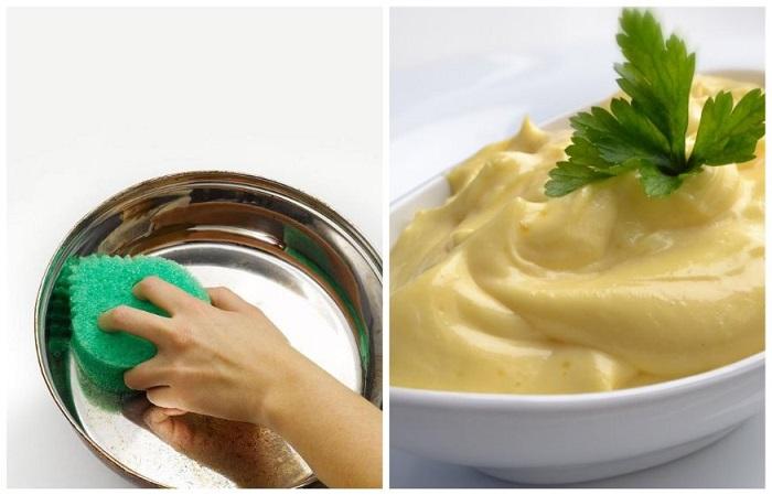 При помощи майонеза можно подарить блеск посуде из нержавеющей стали