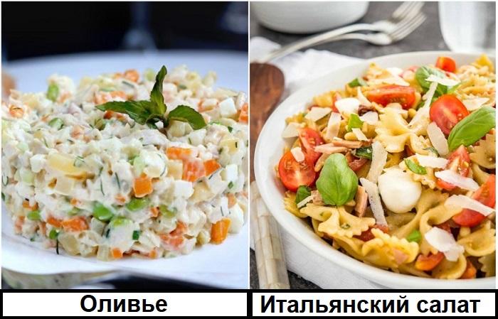 В итальянский салат традиционно добавляют макароны