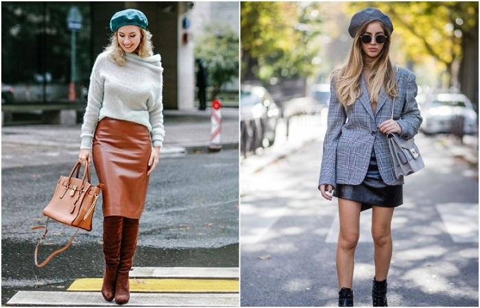 В тренде и длинные, и короткие кожаные юбки