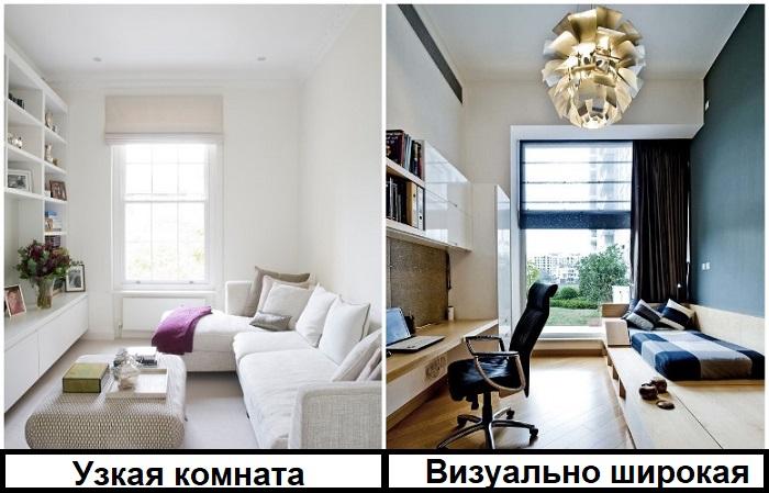 Белые стены увеличат пространство, но не решат проблему узкой комнаты