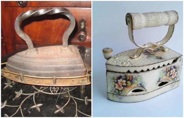 Чугунный утюг можно задекорировать, а можно использовать в оригинале
