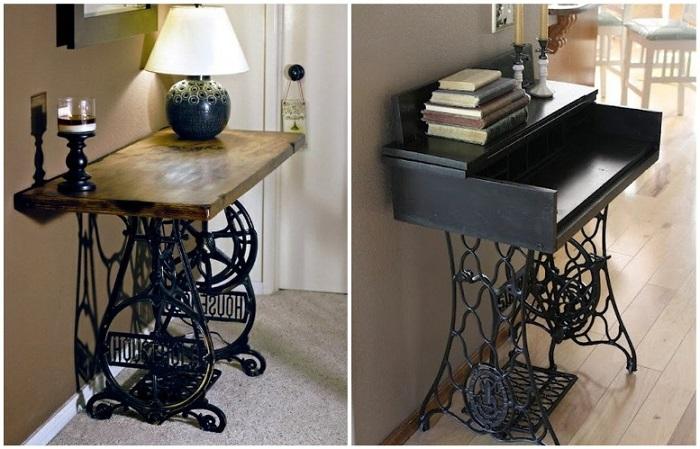 Из чугунного основания и деревянной столешнице получается оригинальный стол