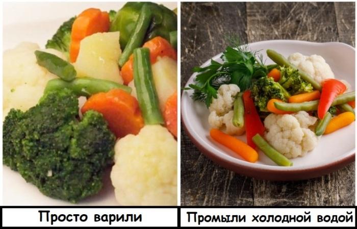 Овощи получатся бледными и невкусными, если не окатить их ледяной водой