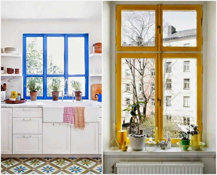 Яркие оконные рамы не нуждаются в шторах. / Фото: Proremont.ovh