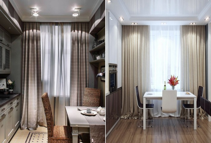 Длинные шторы визуально делают окно выше. / Фото: pinterest.ru