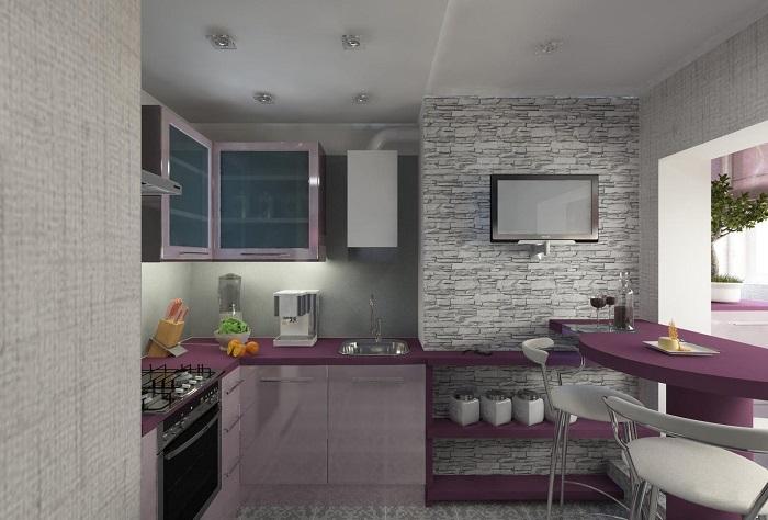 Столешница является ярким элементом в интерьере кухни. / Фото: Svoimy-rukami.ru