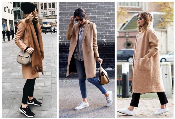 Несколько вариантов образов пальто с кроссовками. / Фото: Wearjust.ru