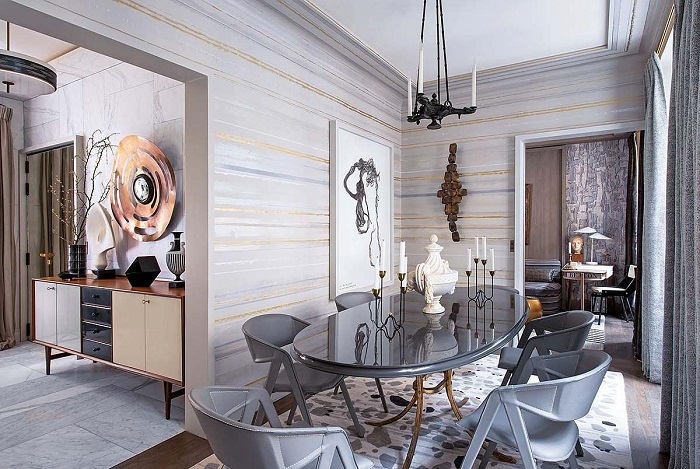 Интерьер столовой от французского дизайнера Жана-Луи Денио. / Фото: Zhilstroy-sk.ru