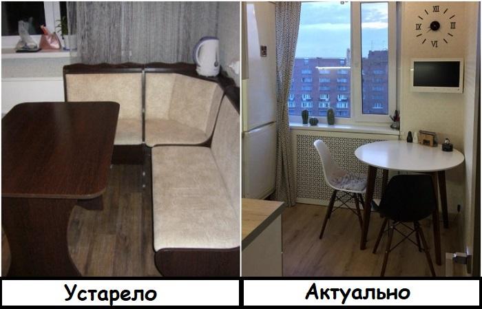 Вместо кухонного уголка лучше поставить стол и стулья