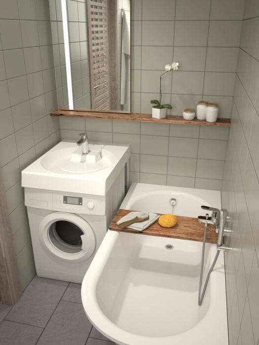 Над стиральной машиной можно разместить раковину. / Фото: bathroom-design.su