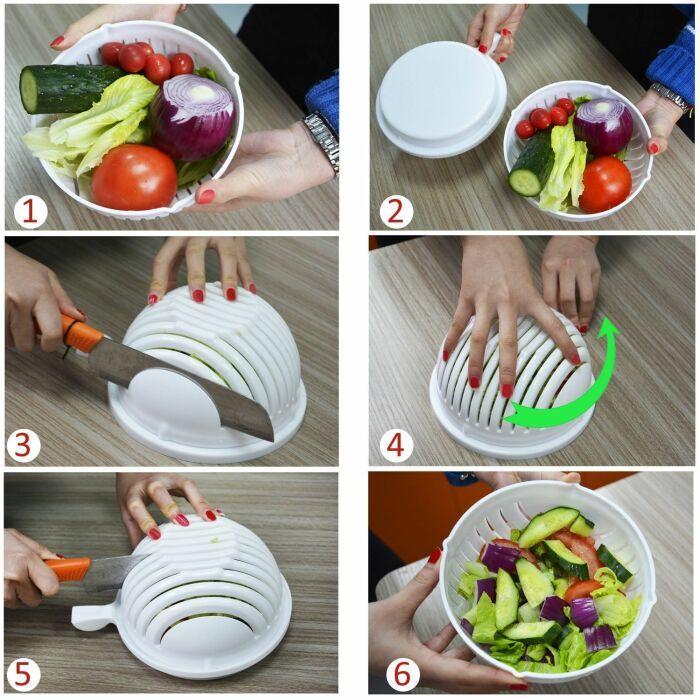 В чаше можно измельчать любые продукты для салата. / Фото: bayplus.ru