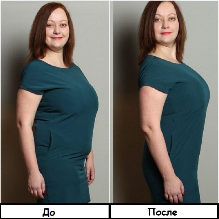 Фото до и после того, как надели утягивающее белье