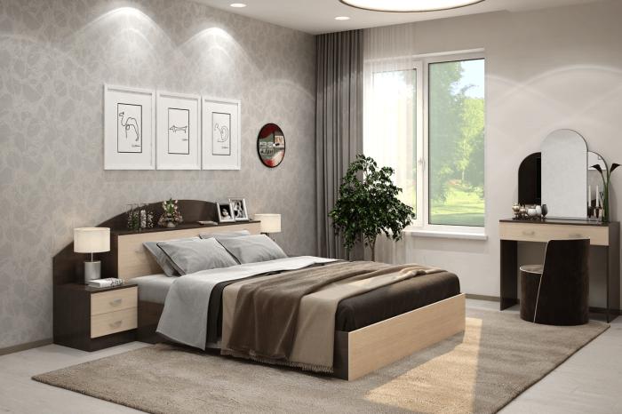 Комплект в спальню, состоящий из кровати, тумбы и трюмо. / Фото: berhouse.ru