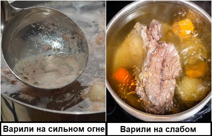 Прозрачный бульон получится, если варить его без крышки на медленном огне