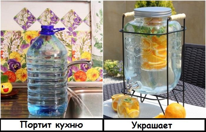 Перелейте воду в стеклянную лимонадницу