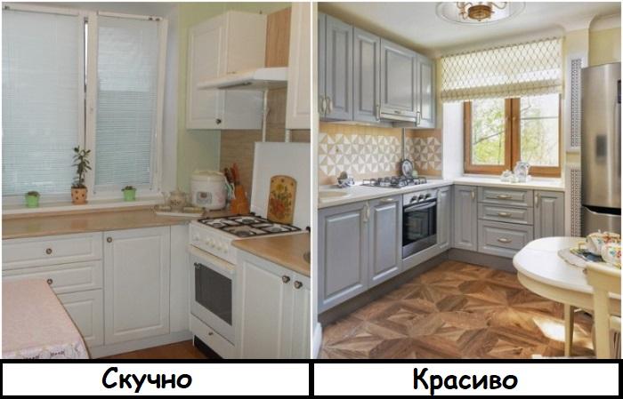 Белая кухня выглядит блекло, а серая - интересно