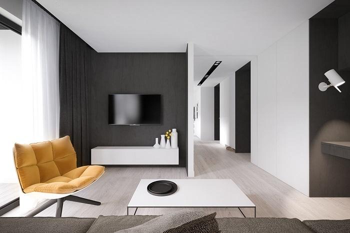 В комнате с черными элементами должно быть хорошее естественное освещение. / Фото: interiorsmall.ru