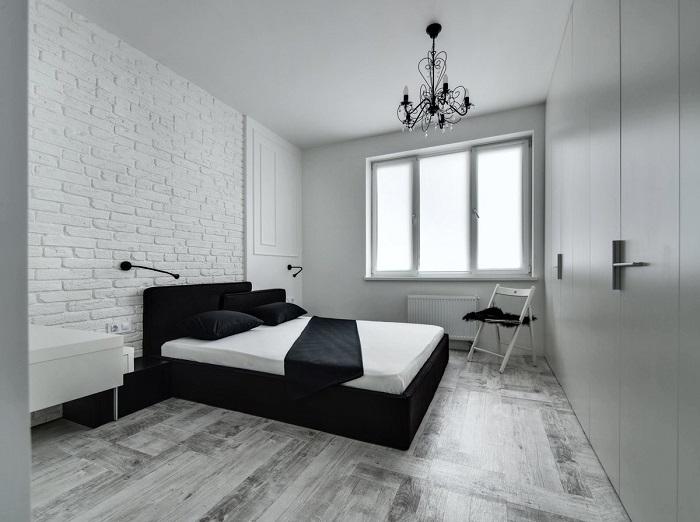 Черный отлично подойдет для спальни в стиле минимализм. / Фото: dizainexpert.ru