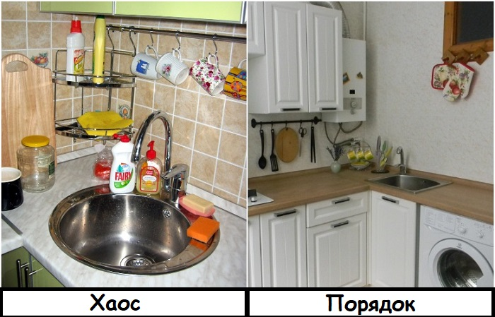 Не захламляйте рабочую поверхность средствами для мытья посуды