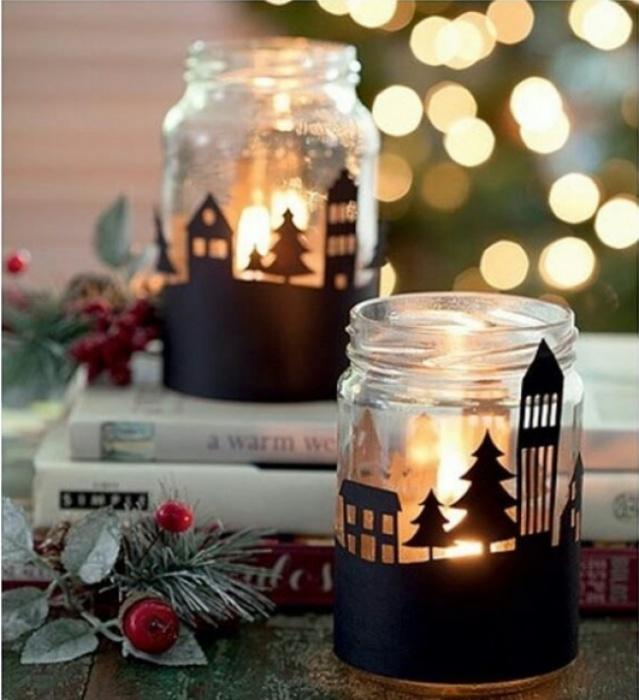 Для светильника понадобится банка, бумага, клей и свеча. / Фото: darievna.ru