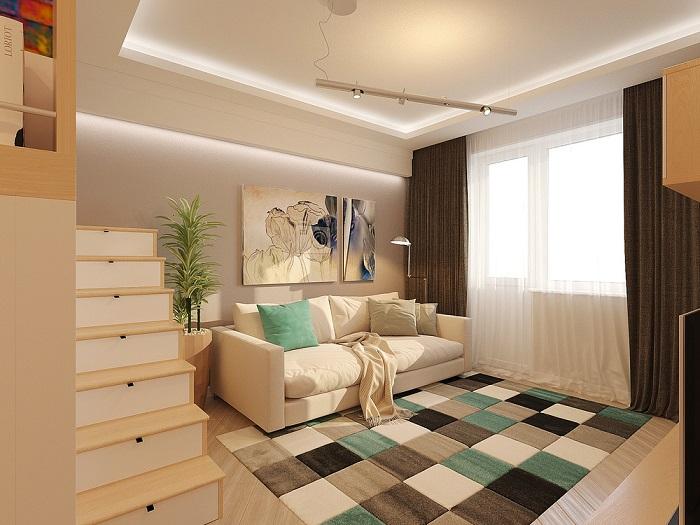 В однокомнатной квартире всегда уютно и комфортно. / Фото: designinside.ru