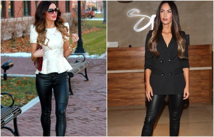 Кожаные брюки можно сочетать с блузой и пиджаком