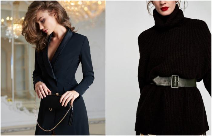 В черных нарядах талия выглядит стройной