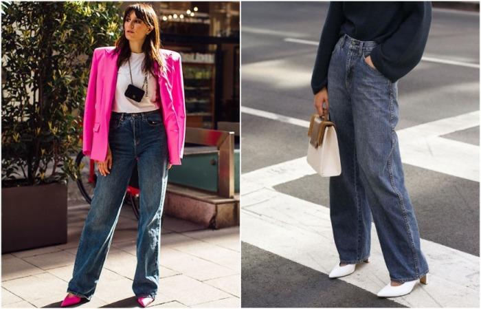 Свободные джинсы с длинными штанинами сделают ноги бесконечно длинными