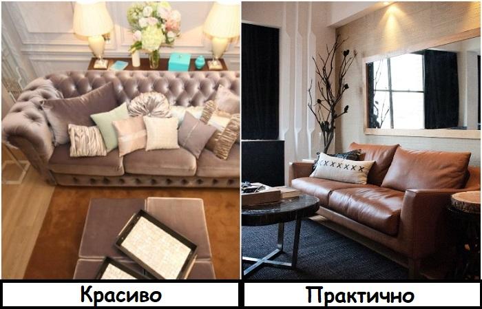 Велюровые диваны не практичные, в отличие от кожаных