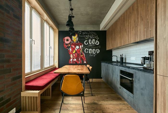 Опуск потолка делается только над шкафчиками. / Фото: fb.ru