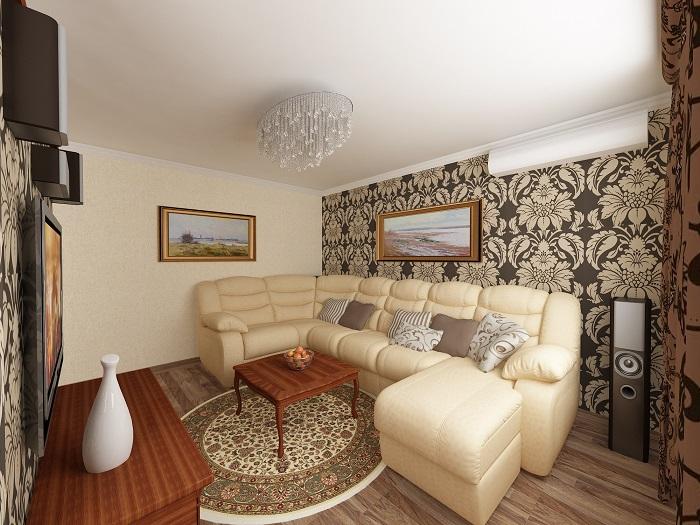 Большой диван занимает все свободное место в комнате. / Фото: ideas.homechart.ru