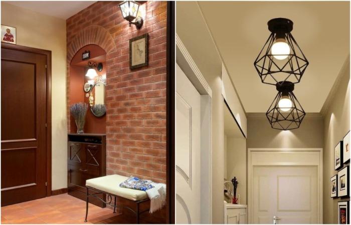 В зависимости от интерьера подбирайте винтажные или лофт-светильники