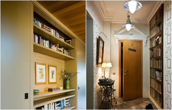 На стенах узкого коридора удачно расположатся книги