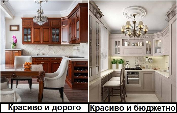 Бюджетная кухня в стиле современной классики выглядит не менее красиво, чем элитная