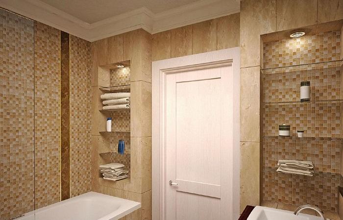 В нише <br>в ванной можно обустроить шкаф или полки для хранения. / Фото: shnyagi.net