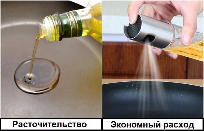 Перелейте масло в бутылку с распылителем, чтобы оно экономно расходовалось