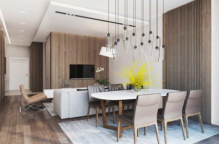 Стол поделит комнату на зоны. / Фото: domoholic.ru