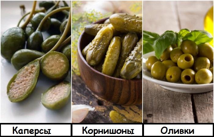 В зависимости от блюда каперсы можно заменить на оливки или корнишоны